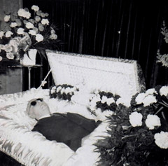 Clarence (~ Lone Wadi ~) Tags: death coffin casket funeral wake corpse deceased flowers blind retro 1950s postmortem repose