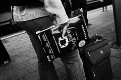 . (www.piotrowskipawel.pl) Tags: street people blackandwhite bw public 35mm magazine germany paper mnchen bayern newspaper vampire streetphotography advert decisivemoment filmphotography pawepiotrowski piotrowskipawelpl
