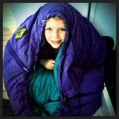 256/365 • sleeping bagged • #256_365 #5yo #sleepingbag #readytogo #Spring2015 #boatyard