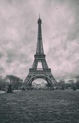 What's Paris without a shot of La Dame de Fer (Dan Haug) Tags: winter blackandwhite paris france tower cloudy january eiffel champdemars fujifilm gustave 2015 vintagelook xt1 theironlady ladamedefer xf1024mmf4rois