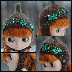 The Folklore Tonttu Helmet: Emerald Forest (Euro_Trash) Tags: flowers brown green net wool felted handmade helmet knit style website com emerald embroidered embellished eurotrash tonttu neoblythe
