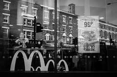 M (stefanopad82) Tags: road street uk woman white black reflection london window high sony 28mm drinking donald mc kilburn mcdonald stefano 99p industar nex 5n padoan nex5n