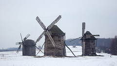 Windmills in Pyrohiv open air museum, Kiev