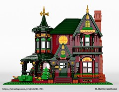 Victorian Dream Home on LEGO Ideas - Red (buggyirk) Tags: building whimsical district creator house queen victorian modular buggyirk historic architecture historical home anne dream bassinet piano grand baby figure minifigure lego afol moc dark green red orange fireplace bedroom living room dining dinette set wing chair tufted couch interior exterior garden turret tower gable finial stained glass window porch grandfather clock chandelier light brick built spiral staircase stairs pillar flower tree bush ideas crawl space vent arch tile family legodreamhome fantasy whimsy miniature cottage