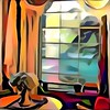 """Photo Series: Photography is an Abstract Art: """"The cold colours of outside in the winter"""" (Ken Whytock) Tags: window inside outside glass cold warm colours drumbo"""