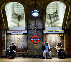 Wasting Light (Douguerreotype) Tags: uk gb britain british england london underground tube metro subway tunnel bench light sign roundel people three 3 city urban transport travel baker street