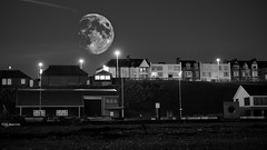 Closer (Alan Dingwall) Tags: black white sea front north east roker landscape moon