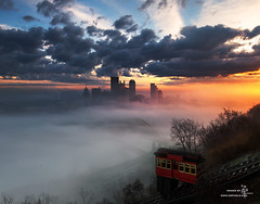 Fog Rolling Over Pittsburgh (Z!@) Tags: pittsburgh pittsburghskyline pittsburghdowntown pittsburghatsunrise fog luminositymasks canoneos6d