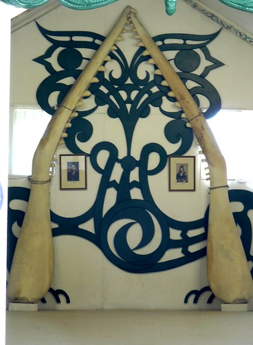 Whalebone Sculpture inside Wharenui (Traditional Maori Meeting House) at Matahiwi Marae, Hawke's Bay, New Zealand
