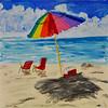 A Portable Rainbow (BKHagar *Kim*) Tags: bkhagar art artwork painting paint acrylic landscape beach sea umbrella impressionist chairs cooler sky clouds sand