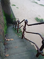Mind how you go... (Lydie's) Tags: beach railings egremont shore mossy slippery steps wintry leaves