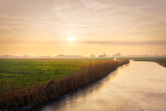 This is Holland - no. 6 (D.ROS) Tags: 2017 black bright clouds countryside dark flat grass green magenta meadow netherlands outdoor outside schagen sky sun sunset tree water winter yellow
