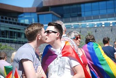 """Gay couple kiss at Plymouth Pride 2015 • <a style=""""font-size:0.8em;"""" href=""""http://www.flickr.com/photos/66700933@N06/20630457565/"""" target=""""_blank"""">View on Flickr</a>"""