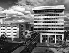 Almere, Hogeschool Windesheim Flevoland (My Photo Vision) Tags: blackandwhite holland building netherlands monochrome architecture outdoor nederland explore architektur architectuur niederlande windesheim explored almerestad iphonephoto zzdp saariysqualitypictures delanddrost iphone6plus