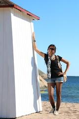(Debarshi Ray) Tags: blue sea summer woman white black sexy girl beautiful sunglasses lady scarf canon finland sand girlfriend pretty baltic shore wife denim hanko canoneos70d