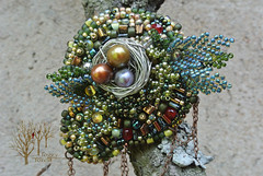 Forest nest_11 (~Gilven~) Tags: forest silver beads nest embroidery jewelry bead pearl beading broch beadembroidery japanesebeads czechbeads foggyforest naturalleather