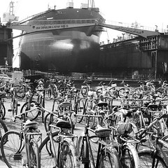 Bikes at work..at ASRY Yard In Bahrain (Gunnar Eide) Tags: bw yard square dock maritime squareformat inkwell odfjell iphoneography instagramapp uploaded:by=instagram