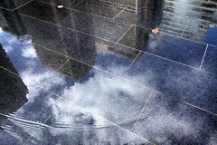 Reflections - Dilworth Park Fountain, 2015 (Alan Barr) Tags: sky cloud color reflection philadelphia water clouds reflections cityscape cityhall gr streetscape ricoh 2015 dilworthpark