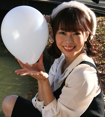I've Already Daydreamt (emotiroi auranaut) Tags: christmas xmas woman white cute beautiful beauty smile leaves smiling fashion japan lady toy happy tokyo pretty sitting seasonal balloon style happiness grin grinning lovely charming