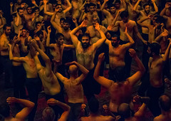iranian shiite muslim mourners from the mad of hussein community chanting and self-flagellating during muharram, Isfahan Province, Kashan, Iran (Eric Lafforgue) Tags: shirtless people men history festival horizontal religious sadness togetherness mourning dancing iran islam traditional religion crowd ceremony middleeast culture celebration holy indoors beat males historical shia ritual muharram ashura muslims celebrate sorrow kashan hussein adultsonly trance islamic beating iman shiite ashoura hussain hoessein menonly commemorate persiangulfstates  onlymen selfflagellation  16252 husayn colourimage hussayn  iro isfahanprovince shiism  westernasia  selfflagellating madofhussein