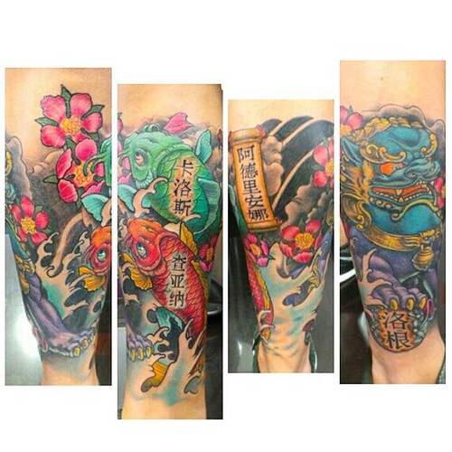 #japanesetattoo #koifish #waves #foodog #cherryblossom