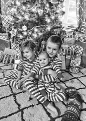 a zebra Christmas (Pejasar) Tags: children grandchildren christmas christmastree presents baby boy girl happy smiles anticipation joy holiday season blackandwhite bw