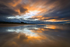 Memories of Bamburgh (Tracey Whitefoot) Tags: tracey whitefoot 2015 bamburgh castle beach sunset dusk northumberland north east coast reflection reflections