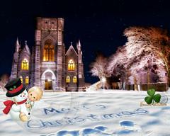 Saint John's church. (Edward Dullard Photography. Kilkenny, Ireland.) Tags: oldpicturesofkilkenny oldphotographsofkilkenny oldkilkennyphotos kilkenny kilkennypeople kilkennyreporter tourismkilkenny cillchainnigh snow christmasinkilkenny noel saintjohnschurch winter hiver night nacht edwarddullardphotographykilkennycityireland tourismireland ireland leinster europe
