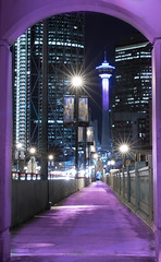 Postcard from Calgary (Margarita Genkova) Tags: calgary calgarytower night cityscape urbanscapet lightpainting postcard structures buildings frame bridge