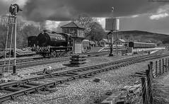 Bolton Abbey Station (Paul GF3) Tags: england ebasr embsaybolton abbey steam railway railroad railwaystation steamengine station steamtrain train tankengine watertower signalbox no35 norman ncb bw blackandwhite outdoors yorkshire yorkshiredales