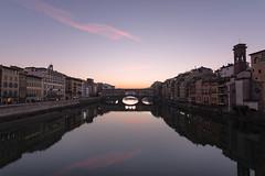 Florence Sunrise (Emanuele Brilli) Tags: florence firenze nikon tuscany toscana italy italia landscape paesaggio ponte vecchio old bridge arno lungarni reflection riflessi