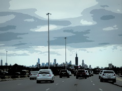 Winter commute (yooperann) Tags: chicago 290 eisenhower expressway loop clouds posterized highway cars