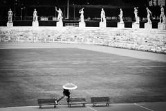 . ([ changó ]) Tags: roma wwwriccardoromanocom rome umbrella ombello panchine stadio statue bench bw bn blanco negro bianco nero black white byn blackandwhite people person persona gente persone street shot streetshot