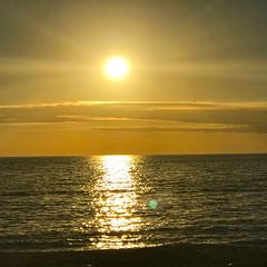 One Enchanted Evening (soniaadammurray - Off) Tags: iphone sunset golden evening sky sun clouds sea sand hss sliderssunday reflections nature beauty seascape