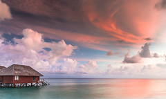 Livin' on an Island (Jerry Fryer) Tags: watervillas sunrise coast indianocean twilight pink coral atoll clouds blue sky maldives southariatoll sea waves 5dmk2 ef24mmf14lii