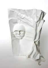 A bite of knowledge? (mitanei) Tags: origami mitanei keepfoldingon apple faces facesculpture tree origamiartist paperart origamitree origamibaum origamikünstler origamiapple