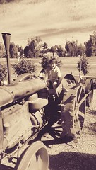Old time farmer new times driver (D . Inc 75) Tags: old time tractor farmer vintage family fun ride oldschool boy