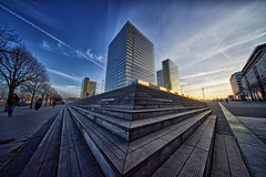 Bibliothèque nationale de France (marko.erman) Tags: bibliothèquedefrance bibliothèquefrançoismitterrand nationallibrary paris france architecture city urban perspective stairs uwa sony ultrawideangle voigtländerheliar10mm pov sky builingd iconic