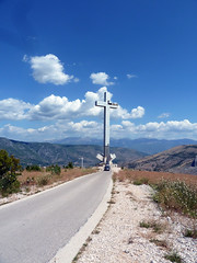 Giant Cross Mostar (jann.haemers) Tags: mountain orthodox christ cross mostar bosnia bosniaherzegovina outdoor road car sky europe controversy summer 2015 hum hill