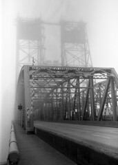 North end of I5 bridge Vancouver, Wa. (Bob Cummings) Tags: travel 90mm foggy fog ilford hp5 120film 6by9 fuji interstate5 bridge washington vancouver cummings bobcummings blackandwhite rangefinder