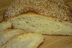 Chewy_Crumb-Q1508zc (Guyser1) Tags: food bread pointandshoot sesameseeds semolina slicedbread canonpowershots95 panedisemolacalabrese