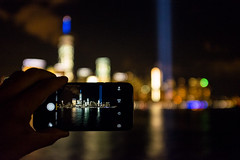 Share and remember (BrianEden) Tags: nyc ny newyork river newjersey jerseycity fuji waterfront unitedstates bokeh manhattan worldtradecenter 911 september fujifilm wtc sept11 hudson september11 11th neverforget lowermanhattan tributeinlight 2015 tributeinlights x100s
