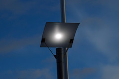 Let Light Out (angelkhaun) Tags: road street blue light sky lamp night clouds square outside evening post minimal pole