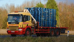 MV03 GGK (panmanstan) Tags: road england truck wagon motorway yorkshire transport lorry commercial newport vehicle freight scania flatbed m62 haulage hiab 94d