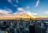 Manhattan Skylines, viewed from Rockefeller Top of the Rock (nianci pan) Tags: nyc blue sunset urban sun color building yellow architecture clouds sunrise river cityscape dusk manhattan rockefellercenter down hudsonriver pan rockefeller 建筑 topoftherock 纽约 曼哈顿 sonyalphadslr nianci empirebuildin