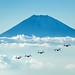 MV-22B Ospreys near Mount Fuji