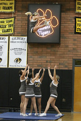 Will She Ever Come Down - Gilbert Tiger Cheerleaders - 2078 (AZDew) Tags: 20162017highschoolbasketball boys gilberttigers skylinehighschoolbasketball varsitybasketball toss throw high intheair cheerleaders cheer stunt up