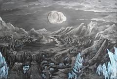 Mining Moon (RedRoofArt) Tags: fantasy art acryl painting panel scify fanart crystals minerals metallic starcraft