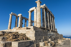 Cape Sounion (Ivanov Andrey) Tags: thechurch paganism religion poseidon journey landscape architecture ruins archaeology history column columns stairs step steps stove plate hill nature trip sea ocean water seascape sky horizon clouds blue sun beach greece capesounion