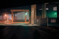 (patrickjoust) Tags: baltimore maryland abandoned firehouse truck freeway fujicagw690 kodakektar100 6x9 medium format c41 color negative film kodak manual focus analog mechanical patrick joust patrickjoust usa us united states north america estados unidos autaut night after dark cable release tripod long exposure fog overpass